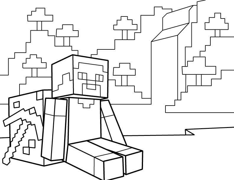 Steve Resting With Pickaxe Pdf Printable Coloring Page Minecraft