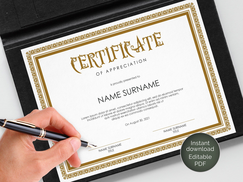 Editable Certificate Blank Certificate Certificate Of