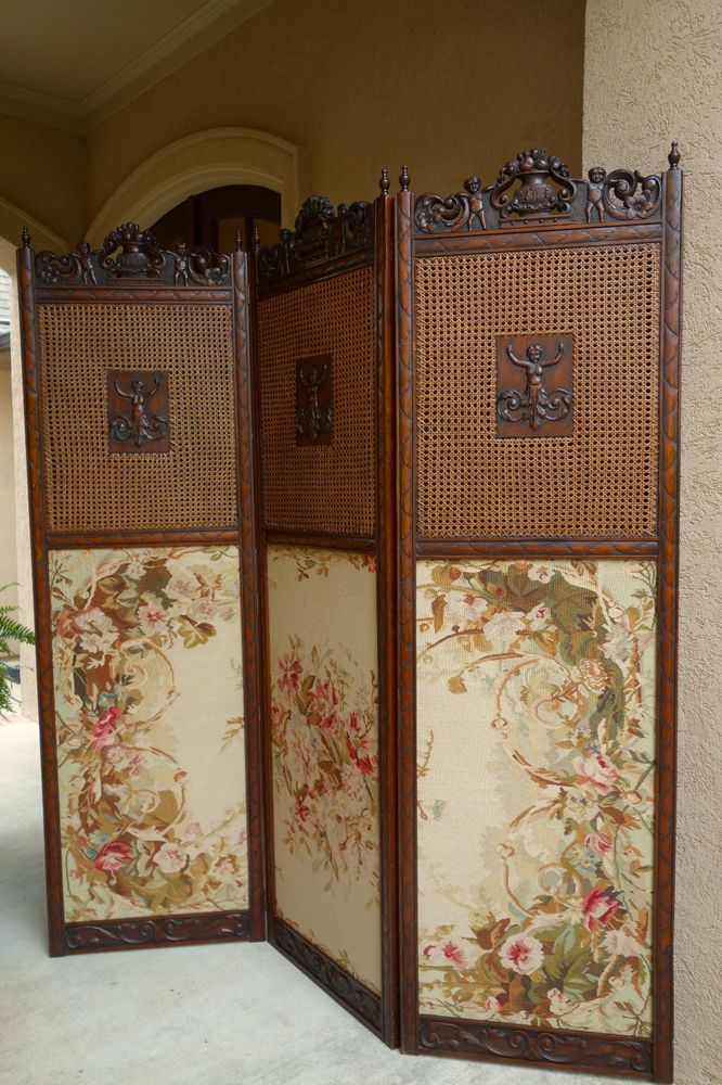 Antique French Carved Walnut Dressing Screen Room Divider Louis XV