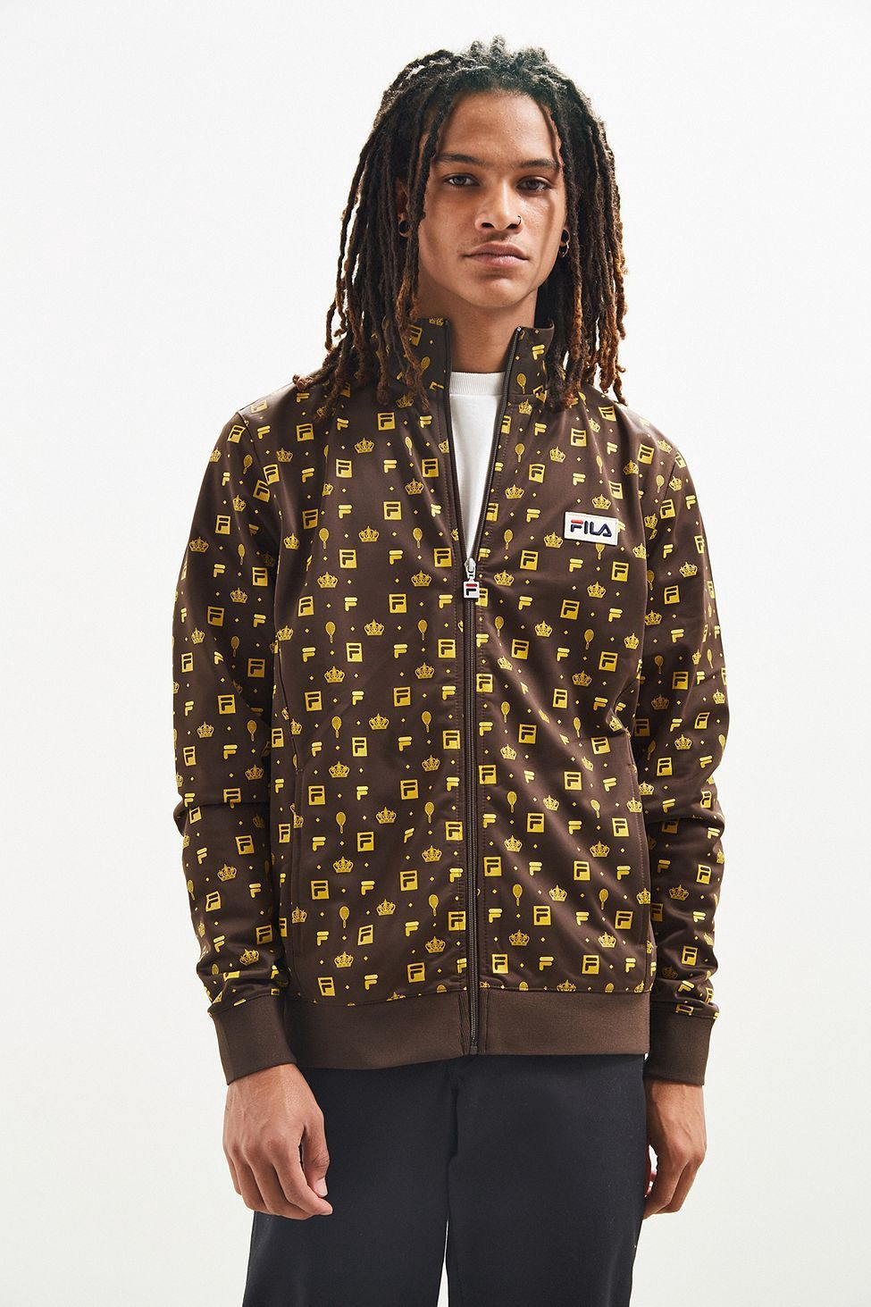 Urban Outfitters Fila + Uo Monogram Track Jacket Brown
