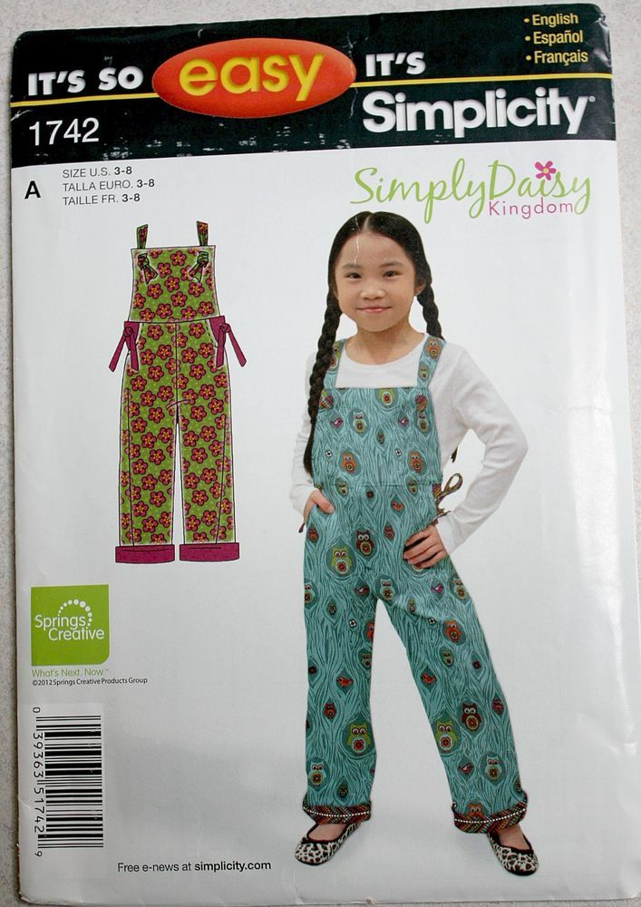 SIMPLICITY It's So Easy Sewing Pattern Child's Overalls Girls / Boys