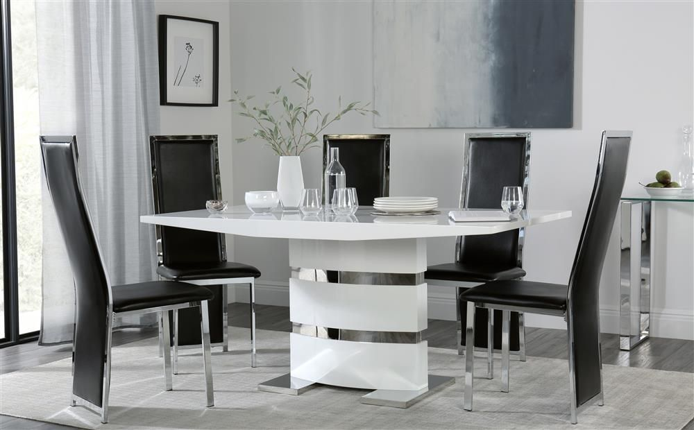 Komoro White High Gloss Dining Table With 6 Celeste Black