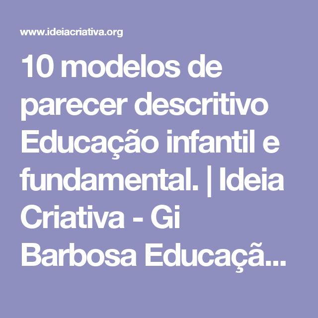 Preferência 10 modelos de parecer descritivo Educação infantil e fundamental  QV61
