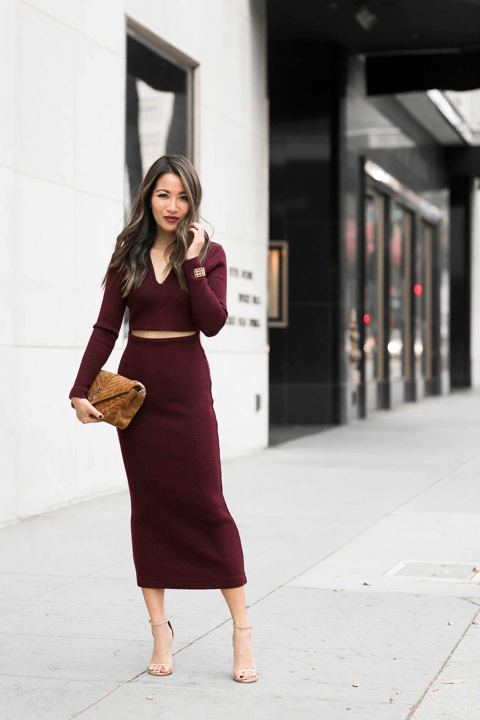 Wine Wine Burgundy Midi Dress Berry Lips Wendy S Lookbook Burgundy Midi Dress Fashion Sophisticated Outfits [ 2304 x 1536 Pixel ]