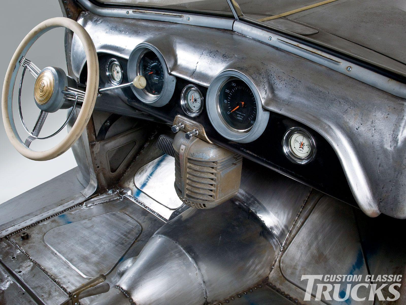 Super Cool Bare Metal Interior With Vintage Drive In Theater Speaker Hanging Under The Dash Rat Rod Rat Rod Interior Custom Car Interior