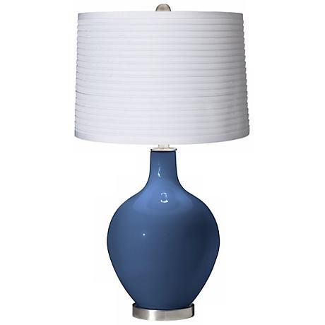 Regatta Blue White Pleated Shade Ovo Table Lamp X1363 X8989 Y8228 Lamps Plus