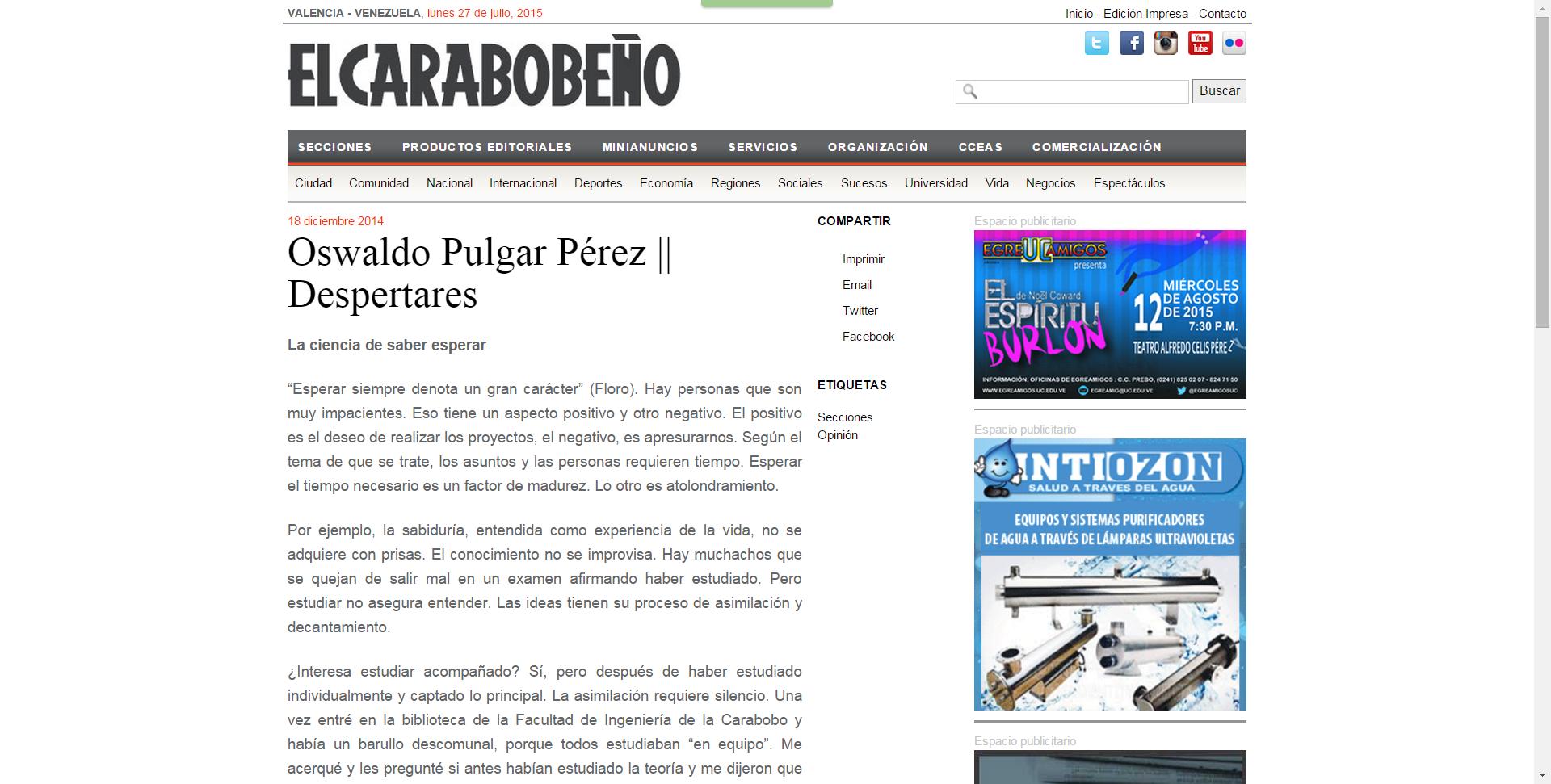 Oswaldo Pulgar Pérez    La ciencia de saber esperar
