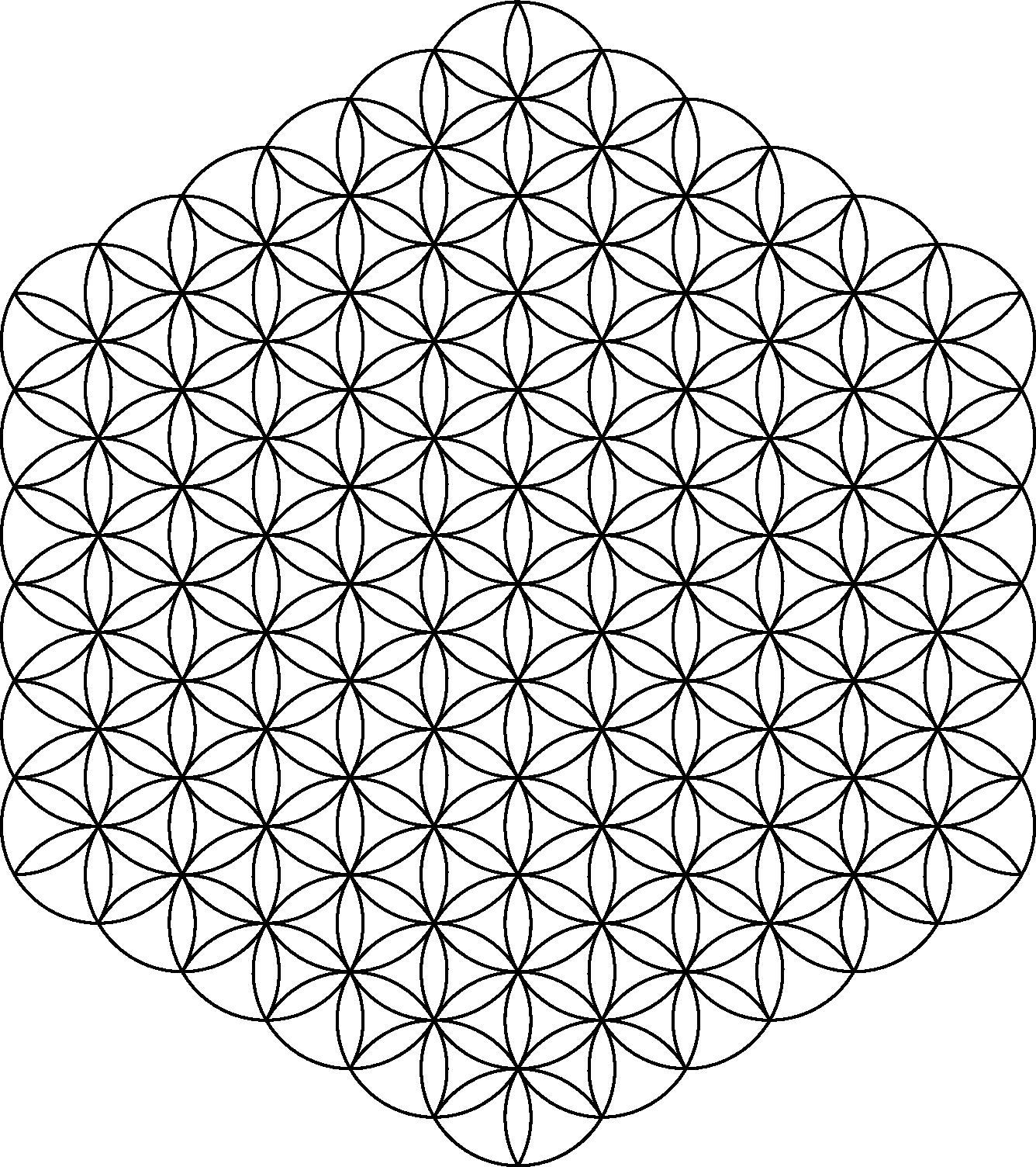 Flower Of Life 91circles36arcs Png 1 336 1 504 Pixels Coloriage Geometrie Tatouage