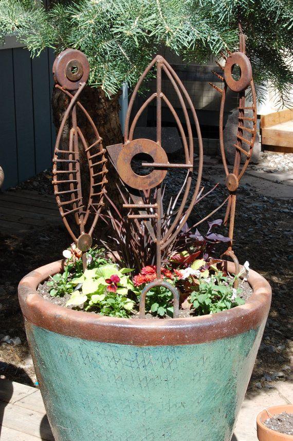 Contemporary Red Modern Art Metal Abstract Garden Sculpture