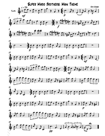 Super Mario Bros Sheet Music for Flute or Saxophone | School | Music