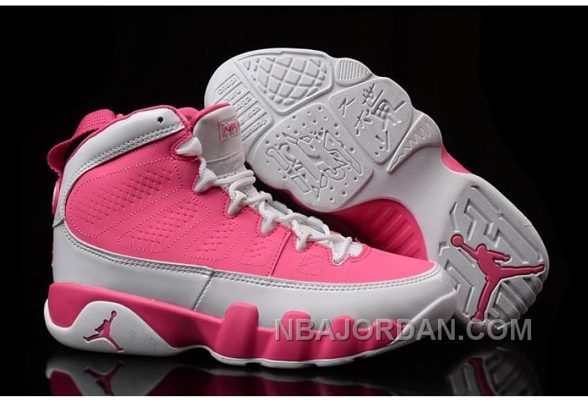 Girls Air Jordan 9 GS Pink White Womens Size For Sale