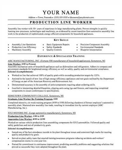 here preview free sample assembly line worker resume created - sample resume for assembly line worker