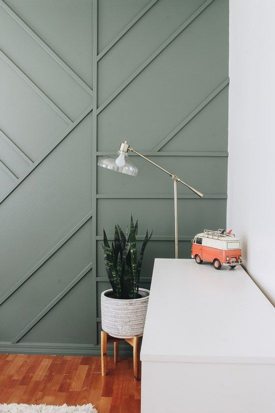 Creating A Modern Wood Accent Wall Within The Grove Accent Wall Bedroom Green Accent Walls Wall Decor Bedroom