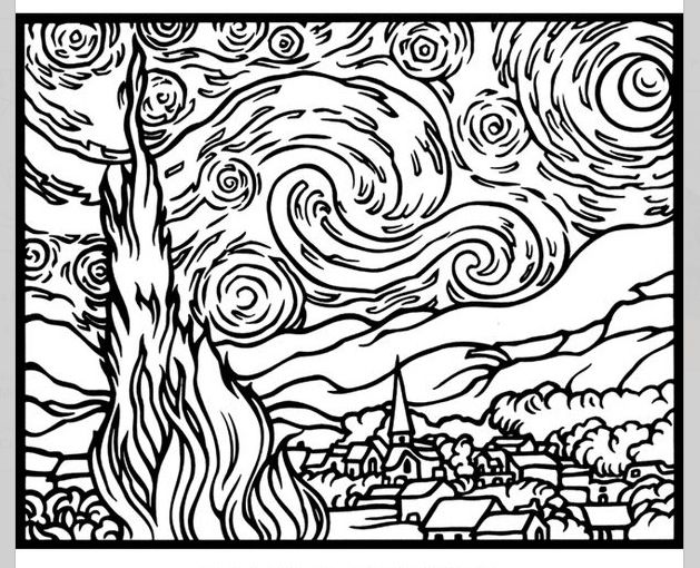 Art With Kids Coloring Pages Starry Night Van Gogh Van Gogh Coloring Van Gogh Art