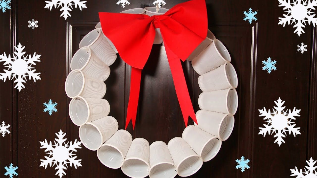 Recycled Christmas Crafts Plastic Cups Wreath Christmas Tree Ornaments Recycled Christmas Decorations Big Christmas Decorations Christmas Wreath Craft