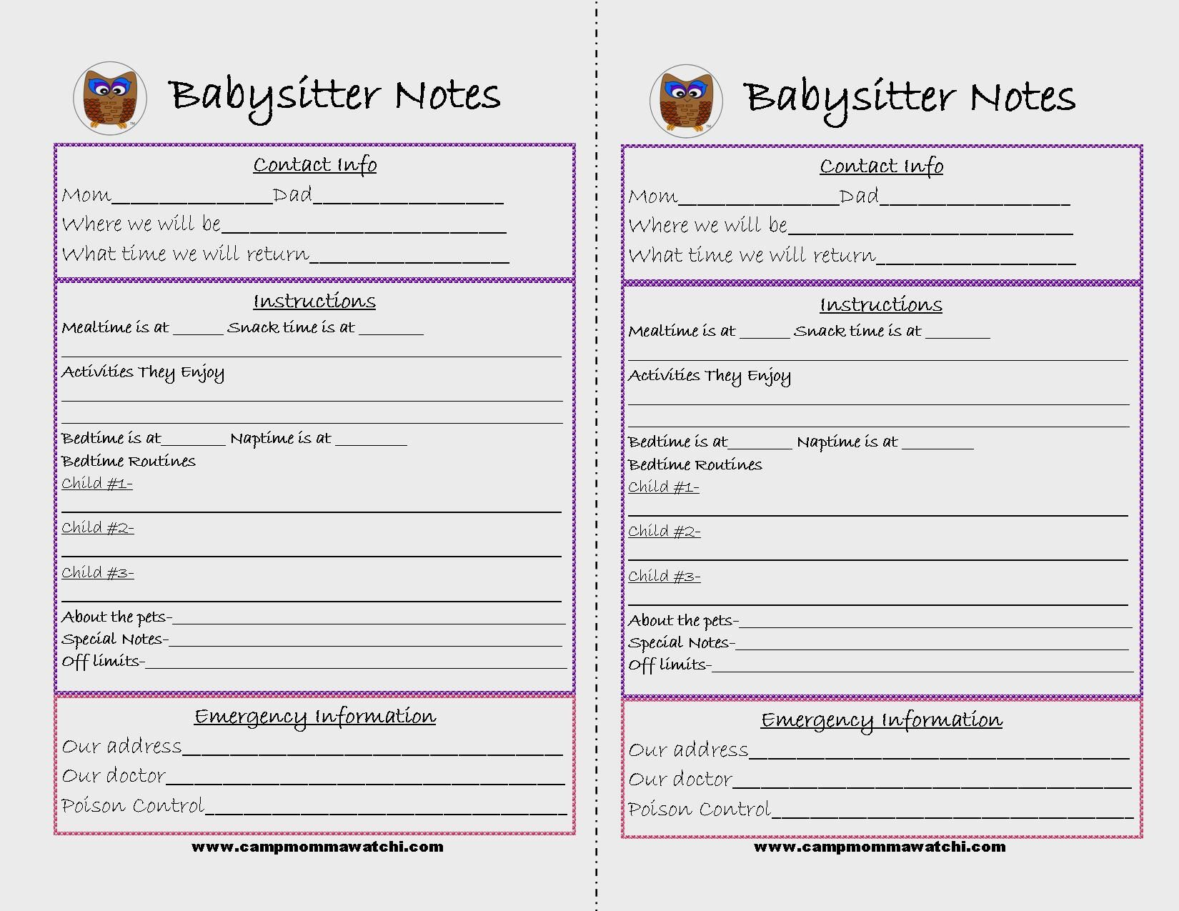 Free Printable Babysitter Notes