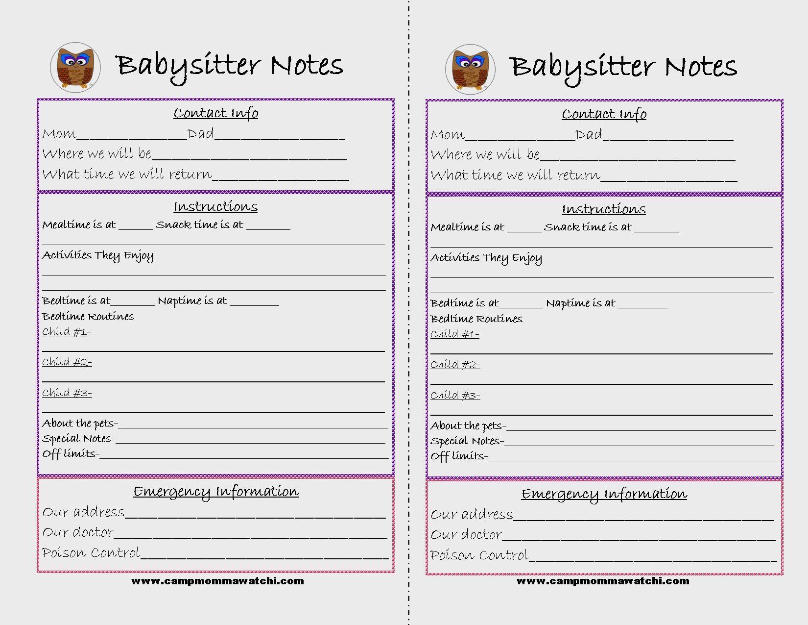 Free Printable Babysitter Notes