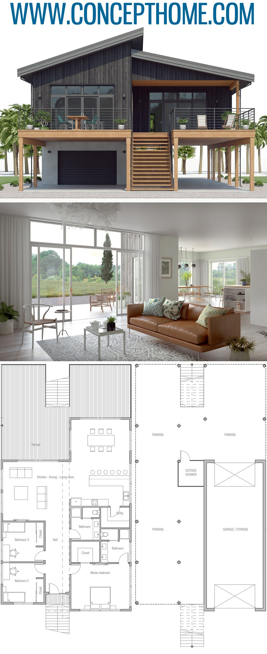25 Best Tiny House Planshouse Plan Ch539 House Plan Home Plans Floor Plans Houseplans Hou In 2020 Coastal House Plans Modern Architecture House Beach House Plan