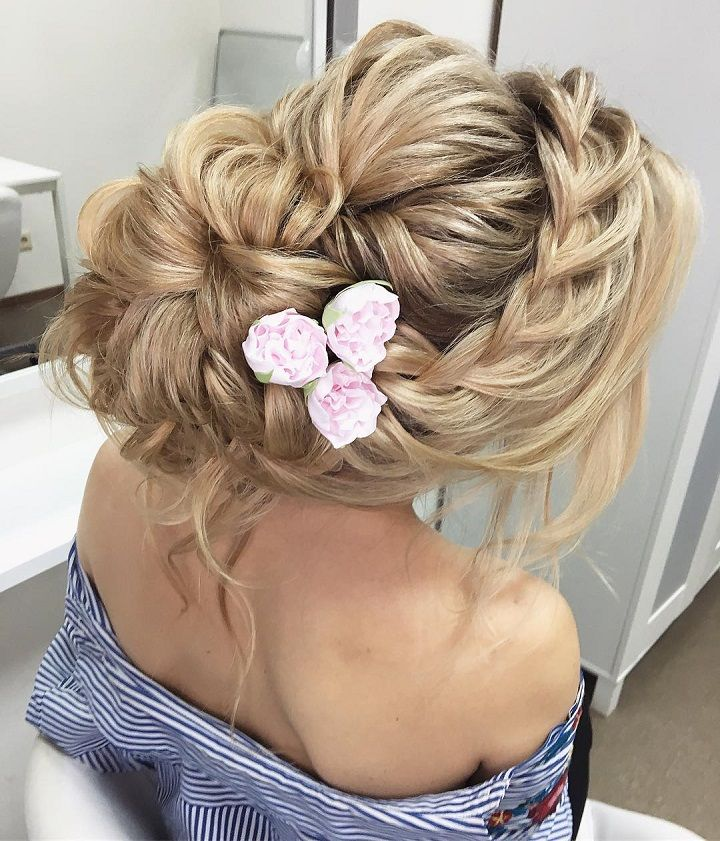 Beautiful Messy Updo With Braids Wedding Hairstyle Inspiration