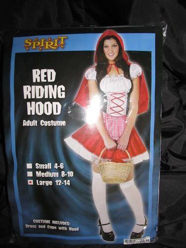 Adult Red Riding Hood Halloween Costume New Dress Cape Hood Sz L 12 14 Fairytale   eBay