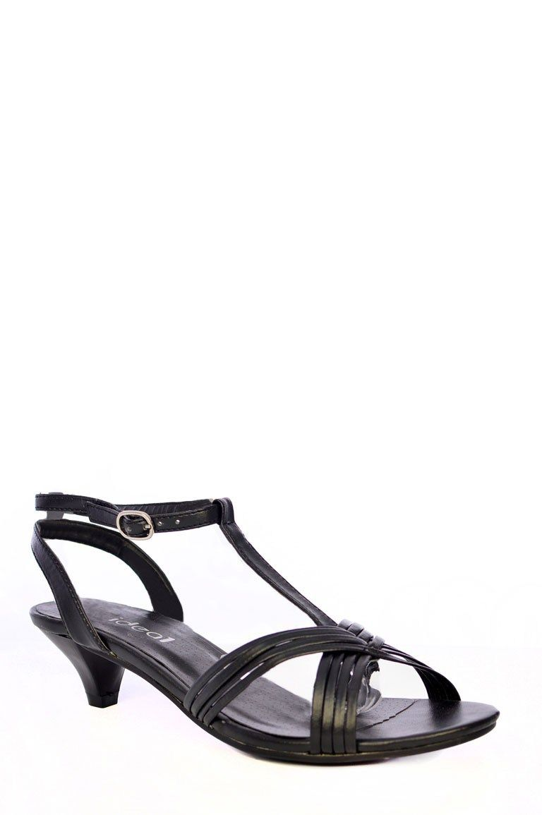 003b07c760 Go for comfort this summer with these black kitten heel sandals! Key  features include a