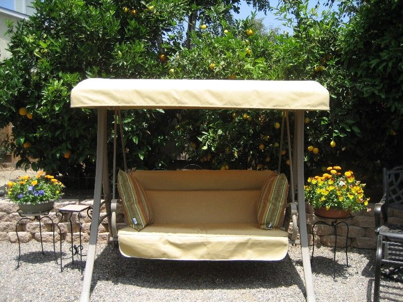 Home Depot Hampton Bay Charm Patio Swing Refurbished With Sunbrella Fabric    Durable And Longlasting Outdoor