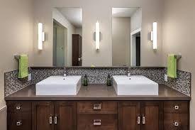 Dbl Vanity 2 Mirrors 3 Vertical Sconces Glass Mosaic Tile