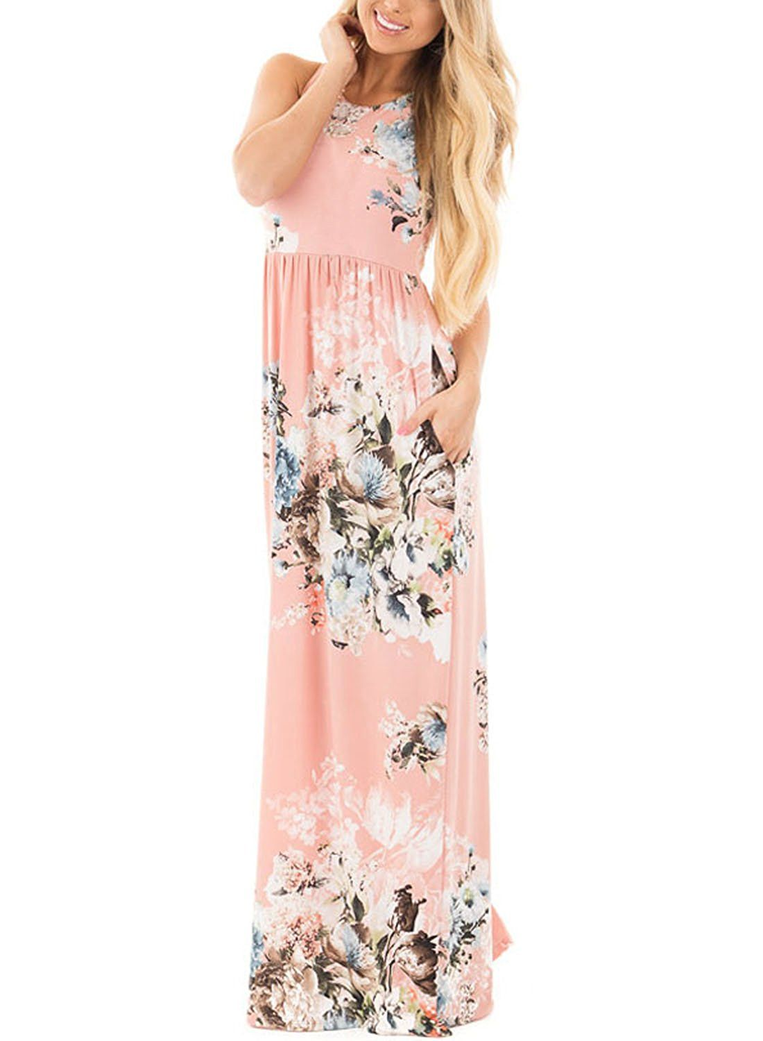Lady Swain Women S Casual Floral Print Racerback Sleeveless Maxi Dress With Pockets Click On T Boho Dresses Long Printed Summer Dresses Floral Dress Summer [ 1500 x 1100 Pixel ]