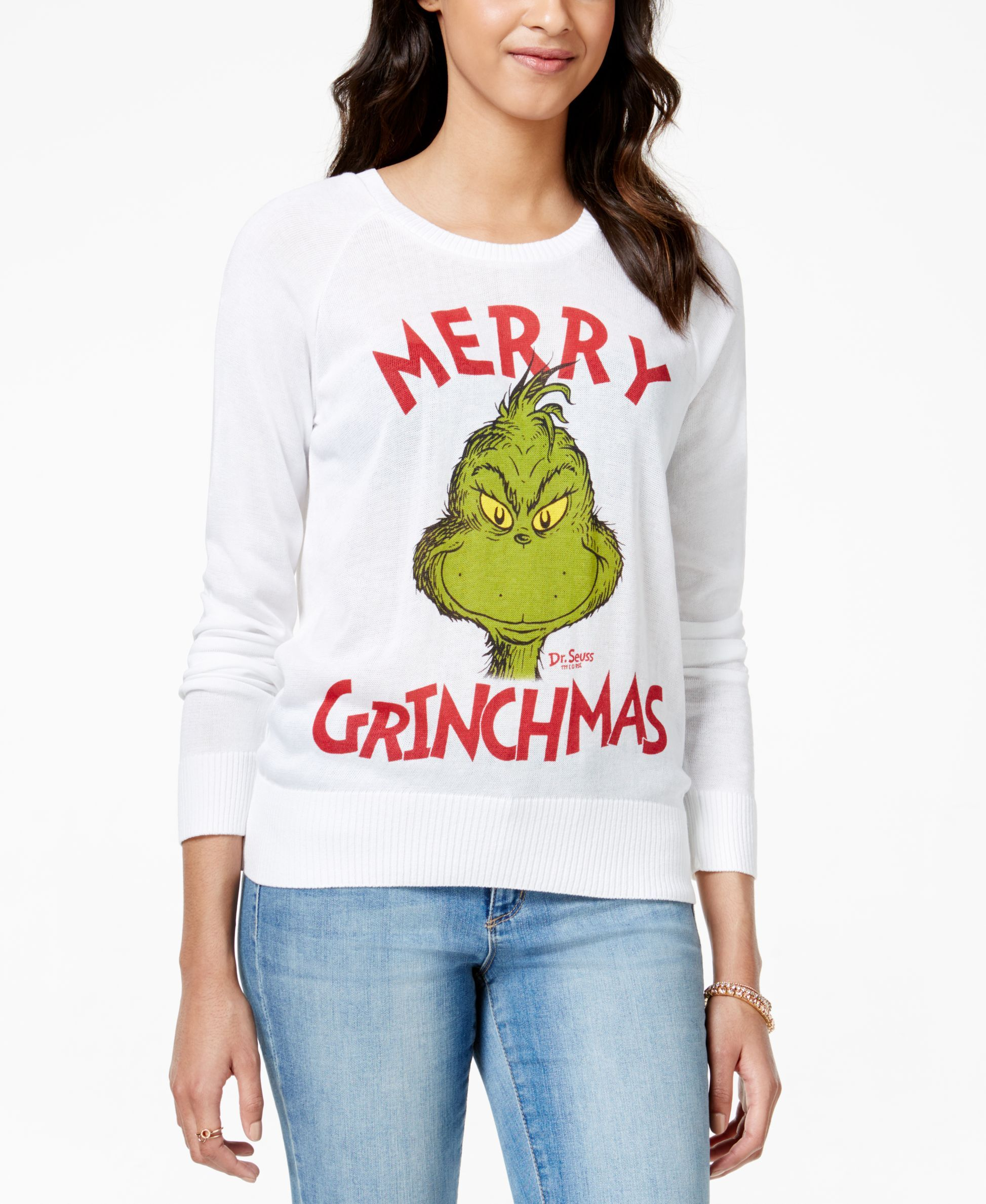 Hybrid Juniors' Grinch Graphic Pullover Sweater