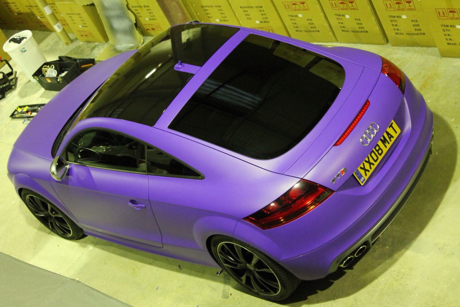 Purple Wrap With Black Gloss Roof Using 3m Material