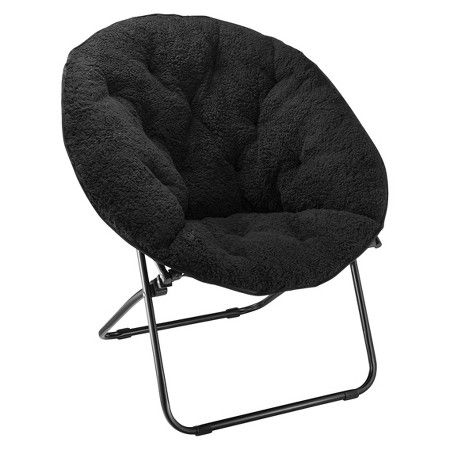 Room Essentials Sherpa Dish Chair Black  Target  JS