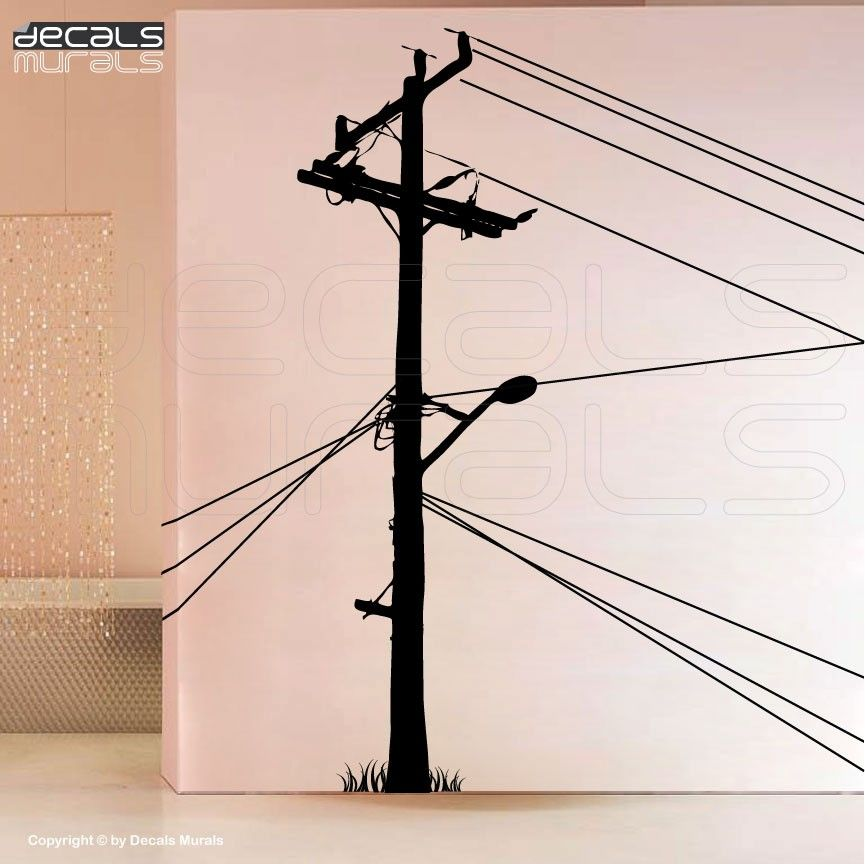 Wall decals ELECTRIC POLE Large vinyl art stickers decor for a wall ...