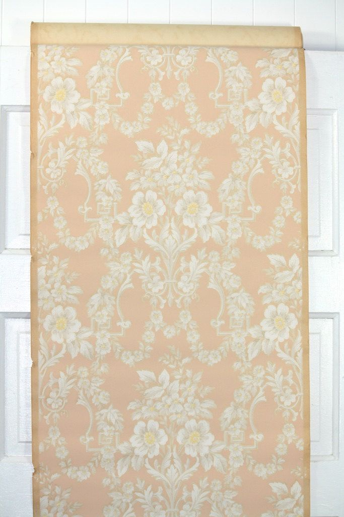 1930s Vintage Wallpaper By The Yard White Floral Victorian