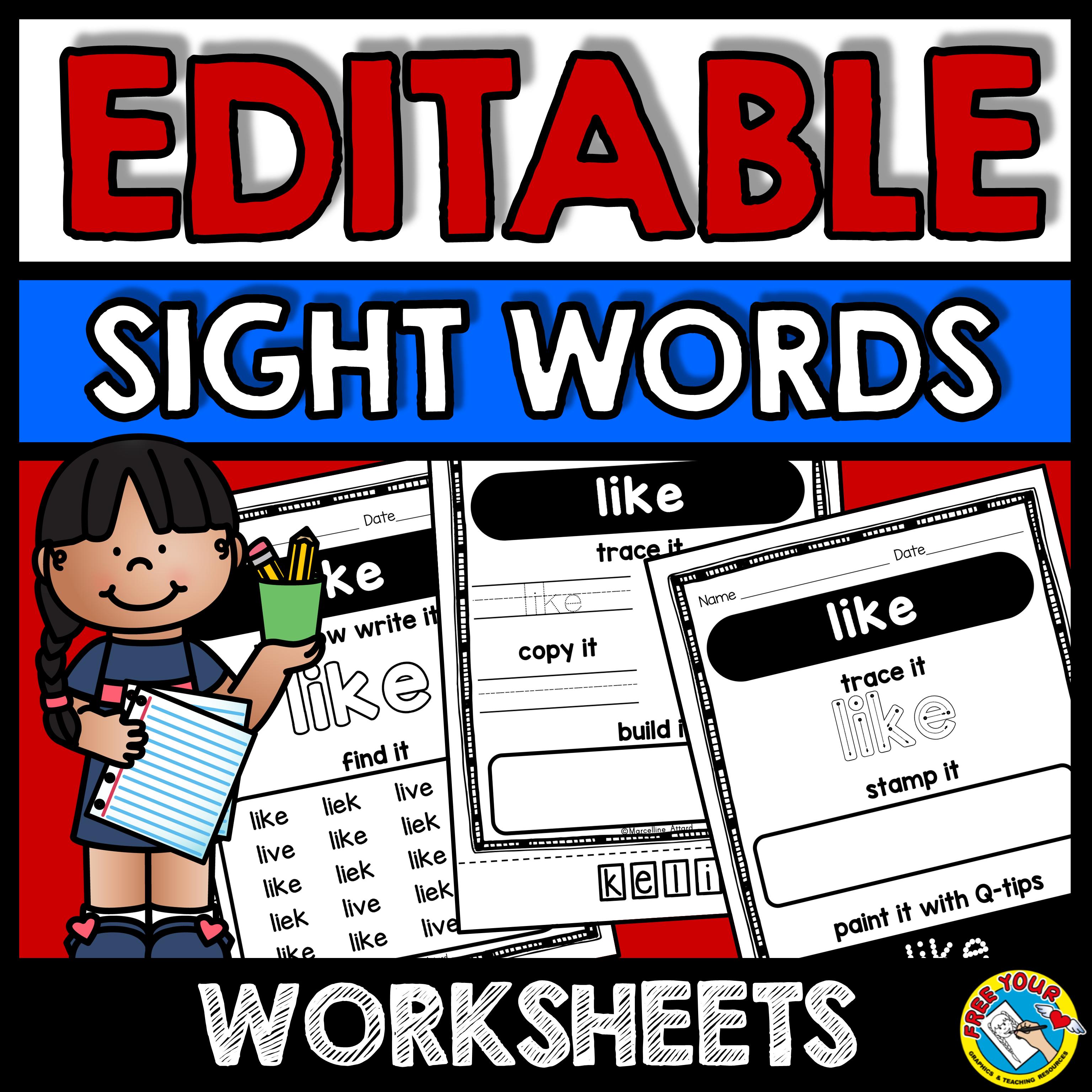 Editable Sight Words Worksheets Editable Sight Words