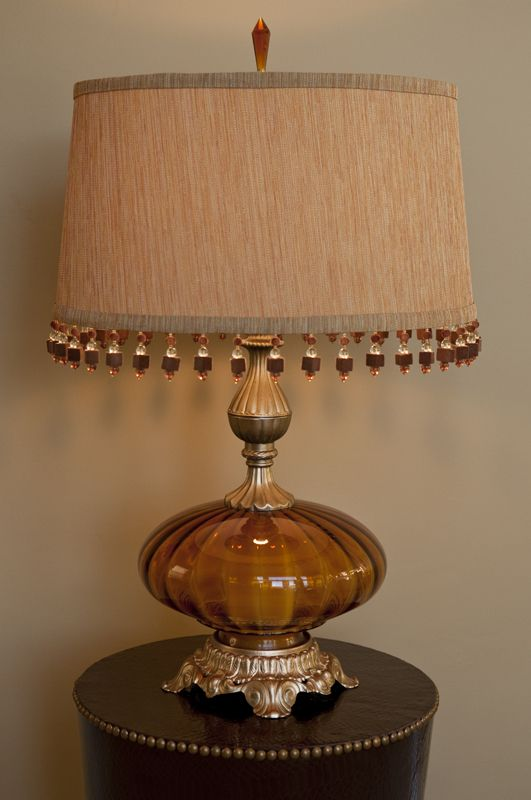 Elegant Vintage Amber Glass Lamp With Waverly Print Custom Lampshade Glass Lamp Vintage Lamps Lamp