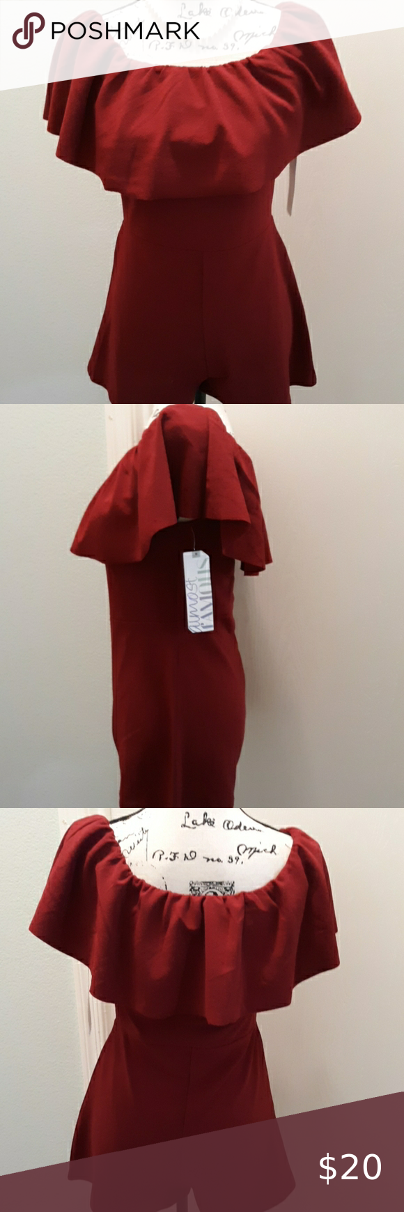 NWT Almost Famous wine color romper NWT Almost Famous wine color romper  Feels like peplum material 95% polyester 5% spandex  Perfect for Valentine's Day or any date night  Features draped material over bodice  Small B: 26-32 W: 24-28 H: 34-38 L: 22 #0525  Medium B: 30-34 W: 26-30 H: 36-40 L: 23 #0526  Large B: 32-36 W: 28-32 H: 38-42 L: 24 #0527  2