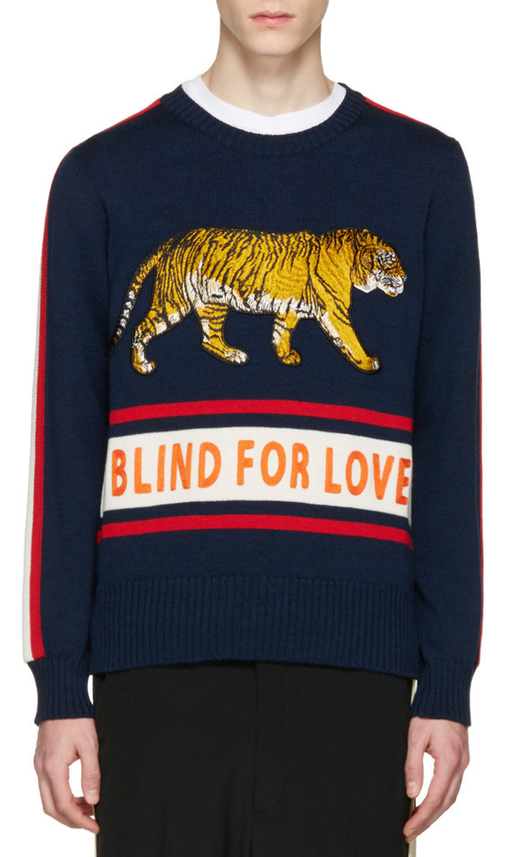 7b93b250c6a Gucci Navy  Blind for Love  Tiger Sweater from SSENSE (men