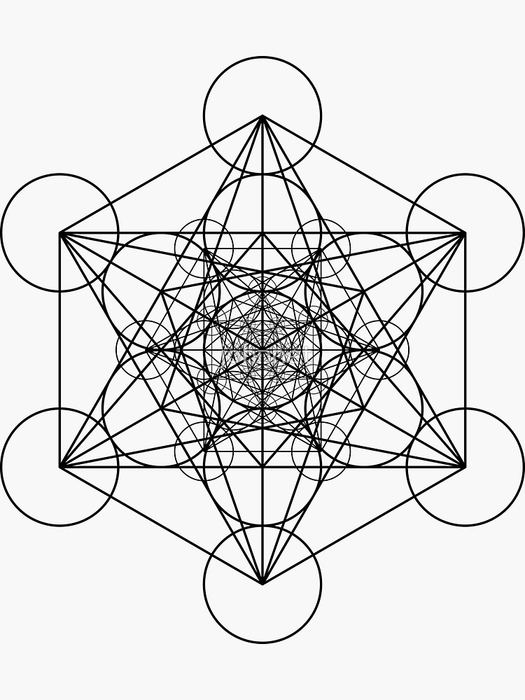 Metatron S Cubes Black Sticker By Johnnet In 2021 Black Stickers Sacred Geometry Cube