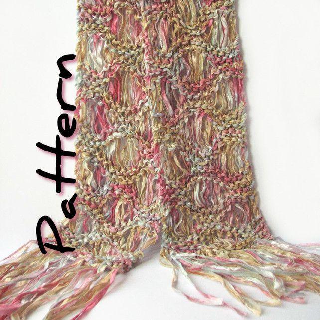Ripple Drop Stitch Ribbon Scarf Knitting Pattern Knit Patterns