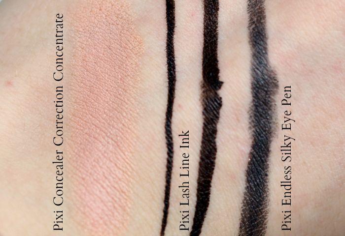 pixi Concealer peach eyeliner swatch
