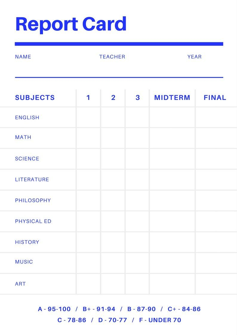 Free Online Report Card Maker Design A Custom Report Card For Middle School Report Card Temp School Report Card Report Card Template Kindergarten Report Cards