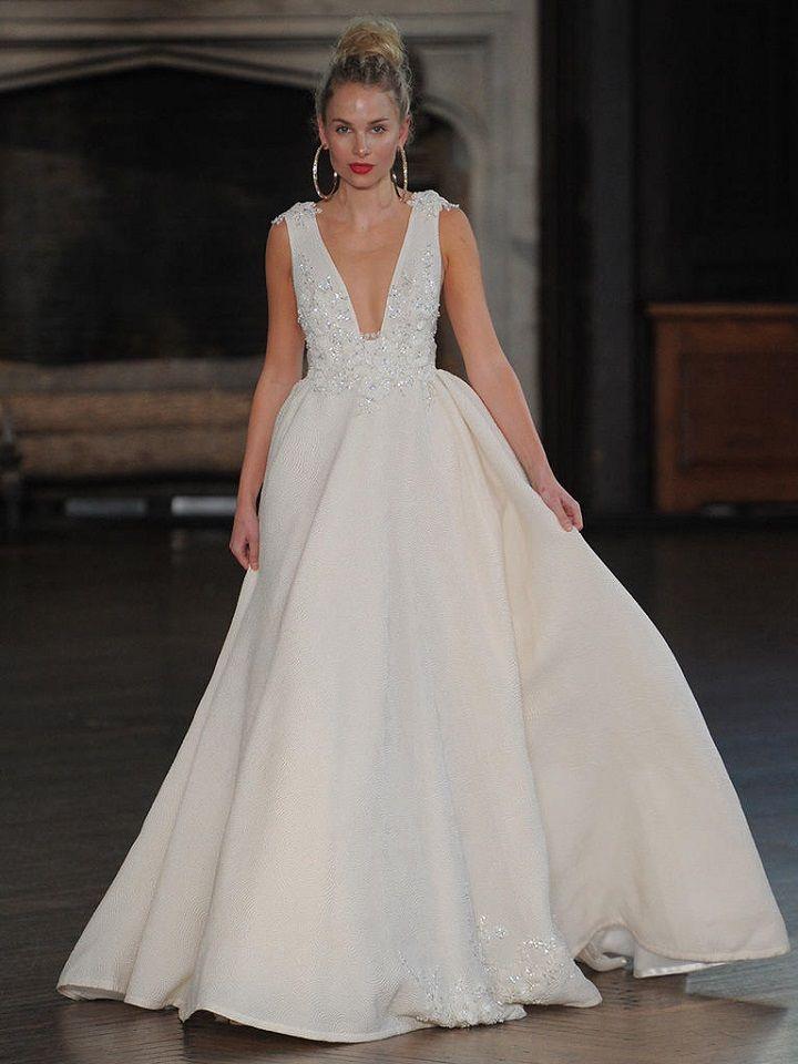 Berta A-line wedding gown with plunging neckline | itakeyou.co.uk #wedding #weddingfashion #bridal #weddingdress #weddinggown #bridalgown #weddingdresses #weddinggowns #berta #bridalinspiration #weddinginspiration #engaged