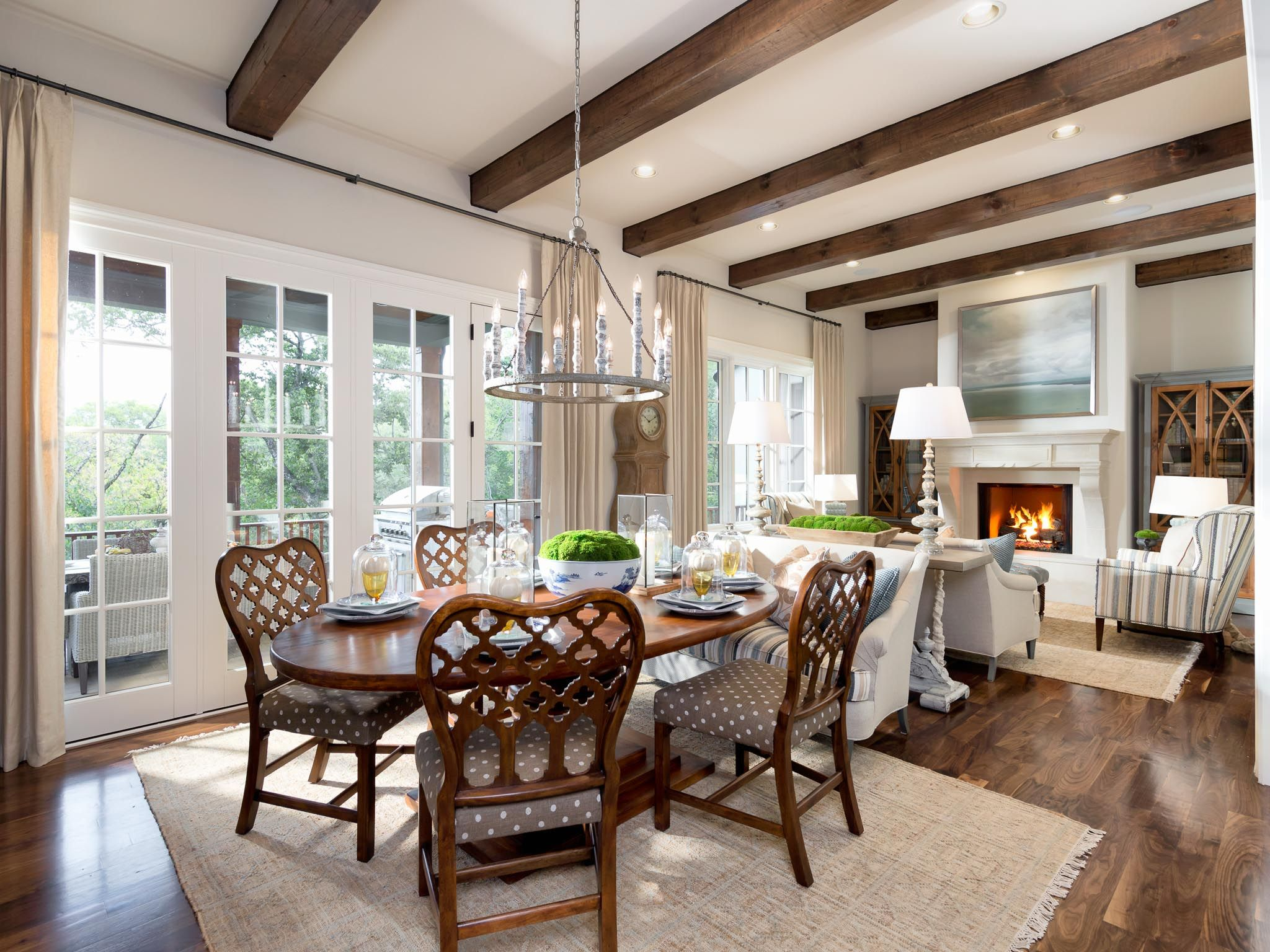 Breakfast Nook And Hearth Room With Rough Hewn Beams In Walnut