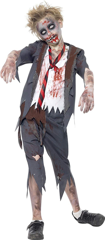 Disfraz de colegial zombi, con pantalón, chaqueta, falsa