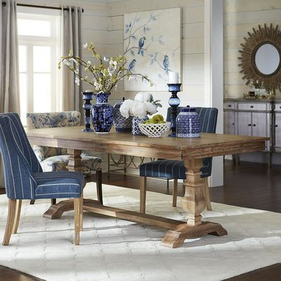 Bradding Natural Stonewash Dining Table Dining Room - Natural whitewash dining table