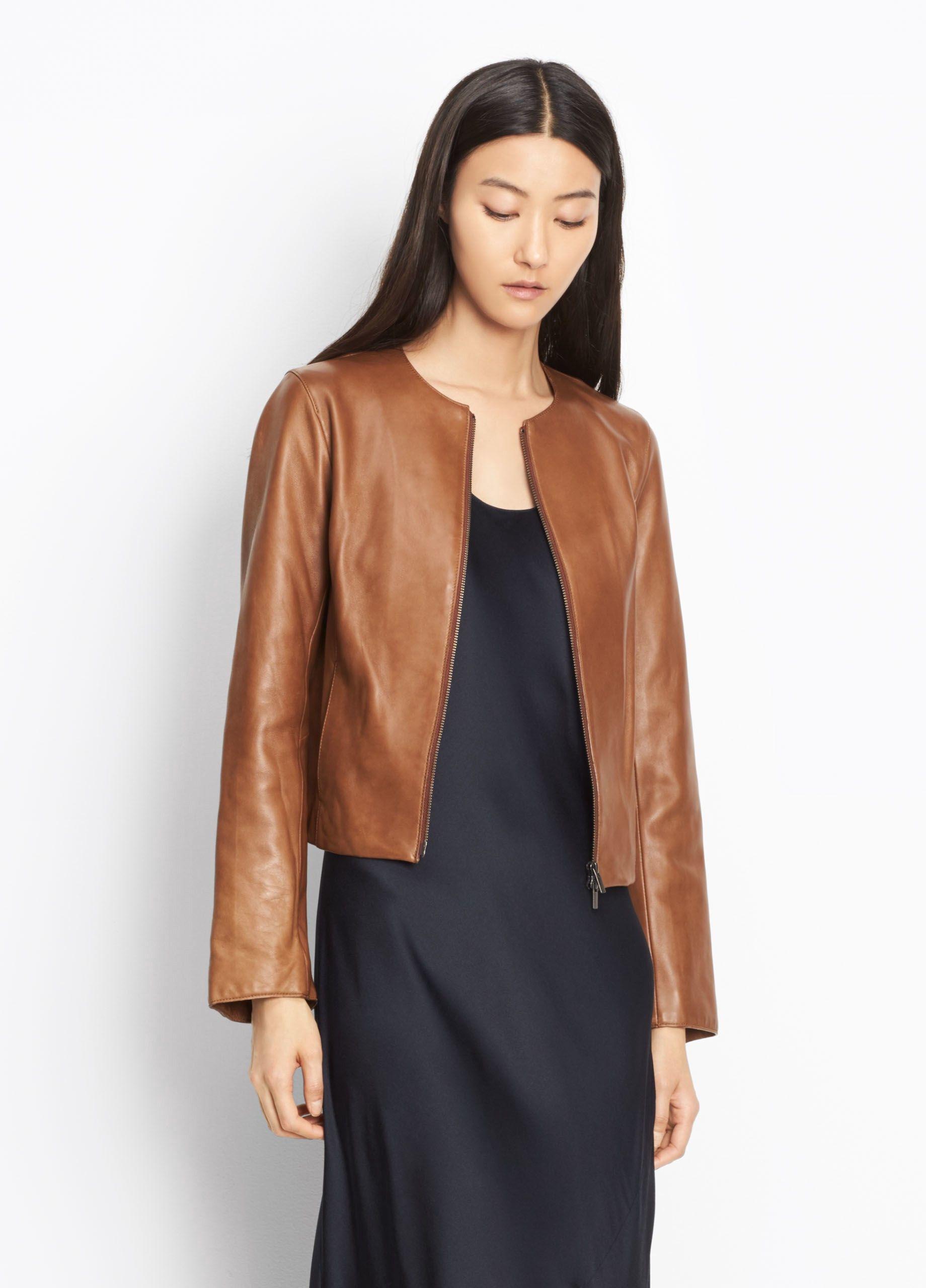 Vince Leather Jacket In Saddle Modesens Collarless Leather Jacket Jackets For Women Edgy Leather Jacket [ 2560 x 1840 Pixel ]
