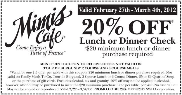 picture regarding Mimi's Coupons Printable identified as 20% off lunch or evening meal at Mimis Restaurant! CheckPoints Discounts