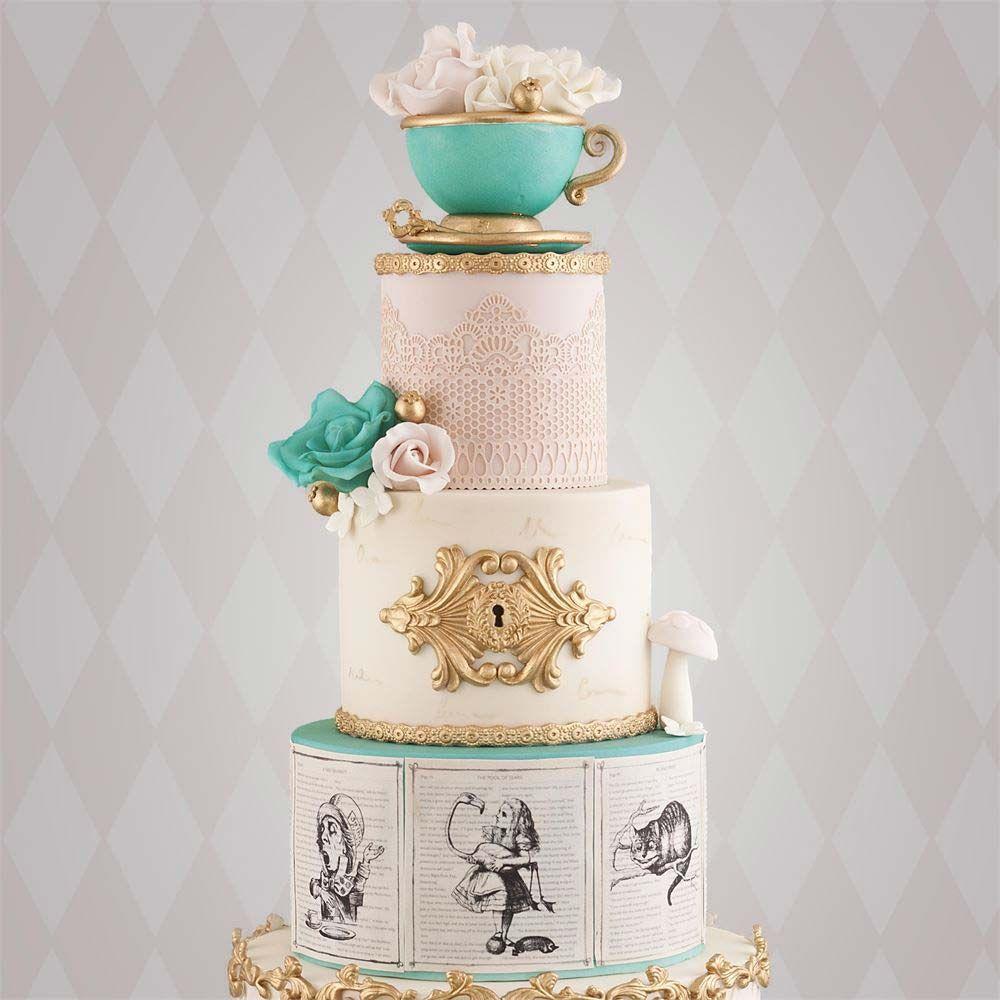 Alice in Wonderland themed unusual wedding cake