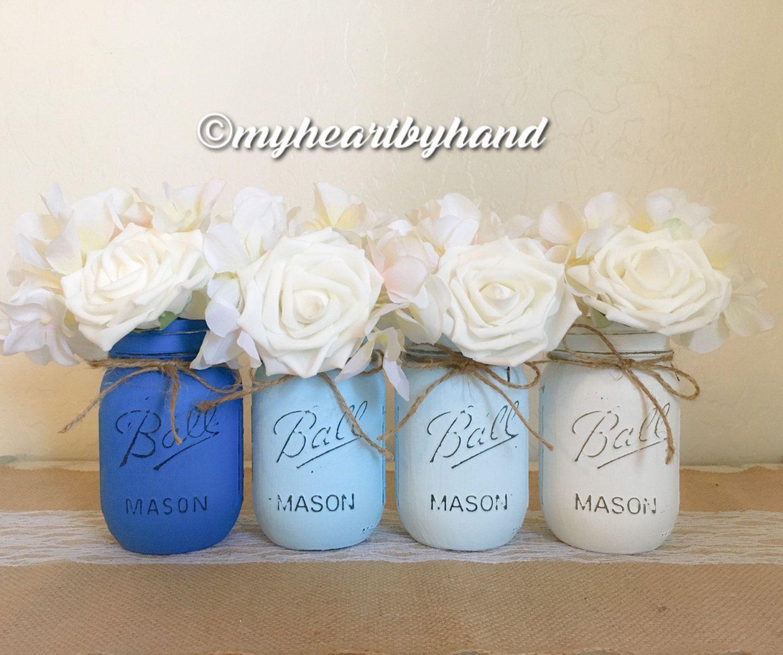 Rustic Mason Jars, Baby Blue Mason Jars, Ombre Mason Jars ...