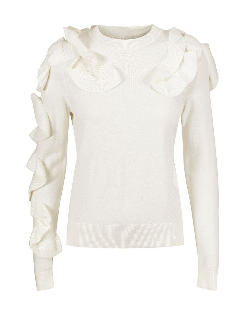 e0fac08d6 TED BAKER WOMEN S PALLEGE FRILL SLEEVE AND SHOULDER JUMPER - IVORY ...
